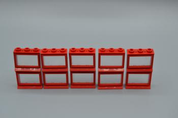 Preview: LEGO 10 x Fenster rot 1x3x2 lange Fensterbank old red window long board 31bc01