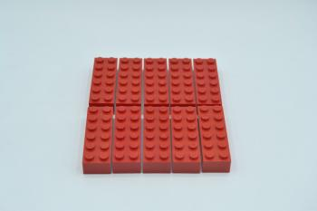 Preview: LEGO 10 x Basisstein 2x6 rot red basic brick 2456 4181138 44237