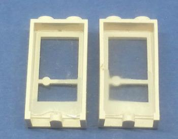Preview: LEGO 2 x Tür Rahmen weiß 1x2x3 Griff rechts white old door handle right 33bc01