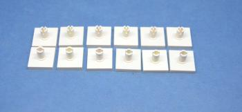 Preview: LEGO 12 x Platte mit Pin oben 2x2 weiß white plate with pin 2460 246001