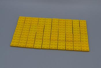 Preview: LEGO 40 x Basisplatte 2x3 gelb yellow basic plate 3021 302124