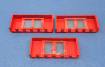 Preview: LEGO 3 x Fenster rot lange Fensterbank 1x6x2 old red window long board 646bc01