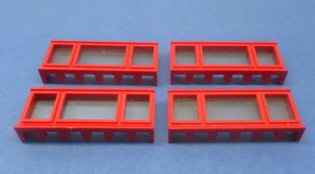 Preview: LEGO 4 x Fenster lange Fensterbank rot 1x6x2 old red window long board 645bc01