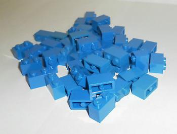 Preview: LEGO 50 x Basisstein Baustein blau 1x2 blue basic brick 3004 300423