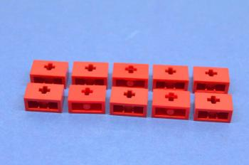Preview: LEGO 10 x Technik Technic Lochstein 1x2 Kreuz rot red hole brick 32064