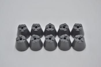 Mobile Preview: LEGO 10 x Kegel Zylinder Konus neues dunkelgrau Dark Bluish Gray Cone 3x3x2 6233