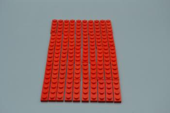 Preview: LEGO 50 x Basisplatte 1x4 rot red basic plate 3710 371021