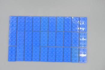 Preview: LEGO 30 x Basisplatte 2x4 blau blue basic plate 3020 302023