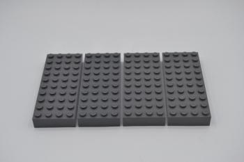 Preview: LEGO 4 x Basisplatte 4x10 neues dunkelgrau Dark Bluish Gray Brick 4x10 6212