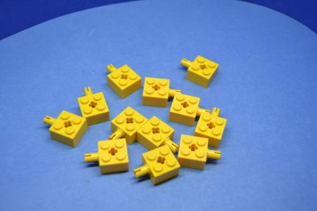 LEGO 12 x Technik Stein 2x2 Pin Kreuzloch gelb yellow technic brick 6232 623224