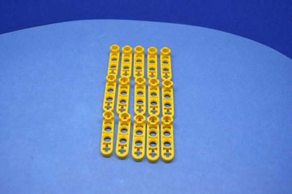 LEGO 15 x Technik Liftarm 1x4 Noppenverbinder gelb yellow technic 2825