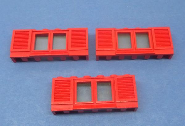 LEGO 3 x Fenster rot lange Fensterbank 1x6x2 old red window long board 646bc01